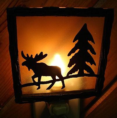 Craftsman Glass Silhouette Night Light Lodge Moose Nightlight, Moose-R-Us.Com Log Cabin Decor