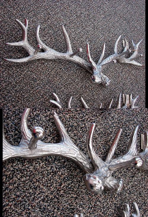 Pewter Brushed Aluminum Adirondack Lodge Antler Peg Rack, Moose-R-Us.Com Log Cabin Decor