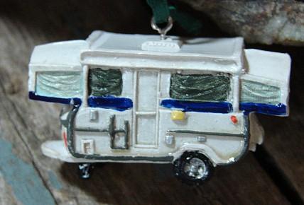 Camping Theme Ornament Pop-up Camper, Moose-R-Us.Com Log Cabin Decor