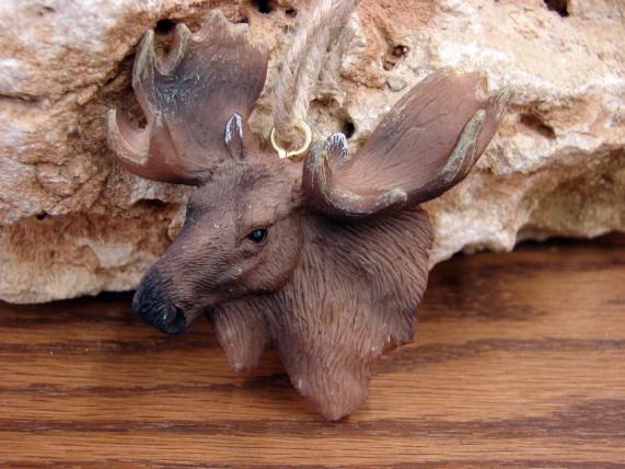 Detailed Resin Moose Head Ornament Cameo Craft Fairy Garden, Moose-R-Us.Com Log Cabin Decor