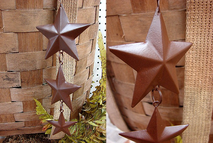Rustic Tin Star 3D Hanging Dangle Ornament, Moose-R-Us.Com Log Cabin Decor