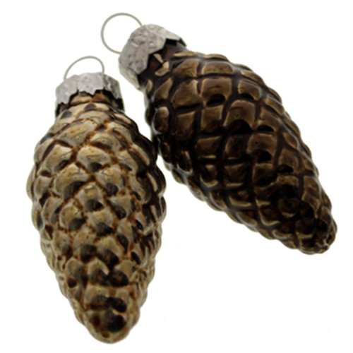 Glass Spruce Tree Pine Cone Ornament Set/16, Moose-R-Us.Com Log Cabin Decor