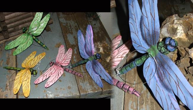 Set of 4 Oversized Tin Dragonfly Hanger Ornament Garden Decor, Moose-R-Us.Com Log Cabin Decor