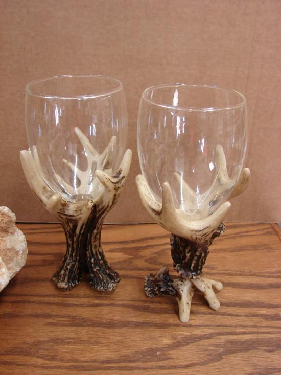Set/4 Rustic Deer Antler Wine Glasses Cabin Lodge Decor, Moose-R-Us.Com Log Cabin Decor