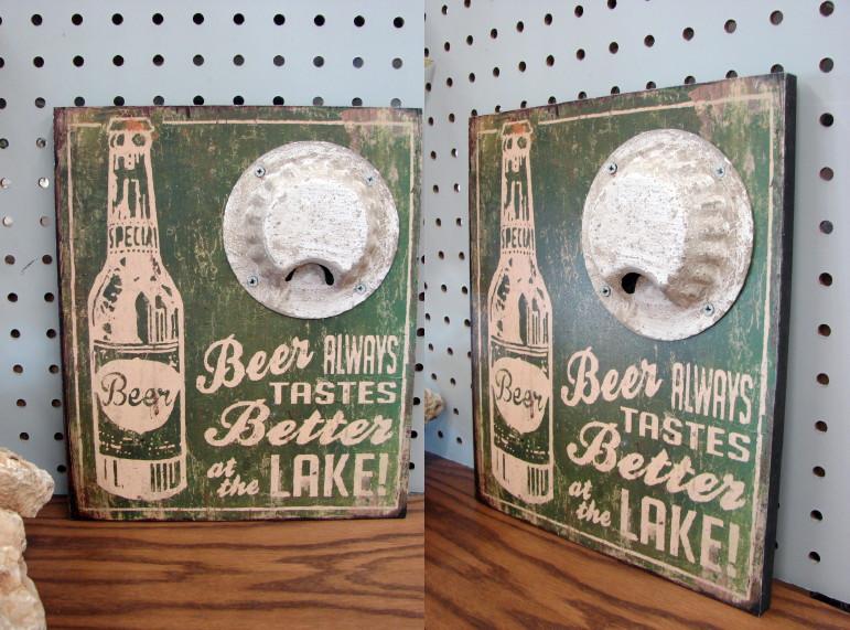 Rustic Wood Beer Tastes Better at the Lake Sign, Moose-R-Us.Com Log Cabin Decor