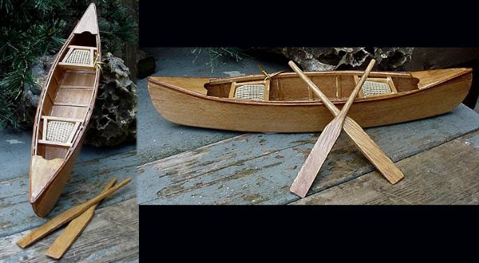 Miniature Detailed Wood Canoe 10″ Cane Seats Cabin Decor, Moose-R-Us.Com Log Cabin Decor