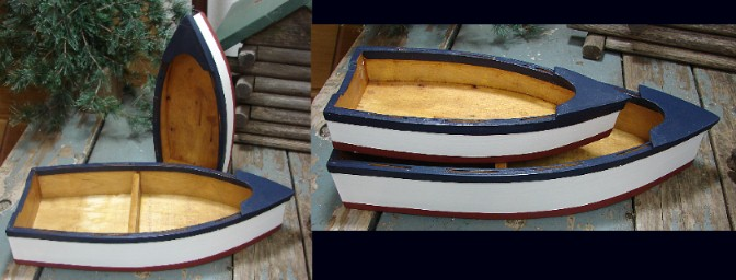 Painted Wood Row Boat Display Table Centerpiece, Moose-R-Us.Com Log Cabin Decor