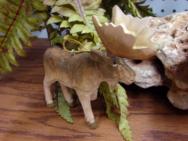 Wood Carved Walking Moose Ornament, Moose-R-Us.Com Log Cabin Decor