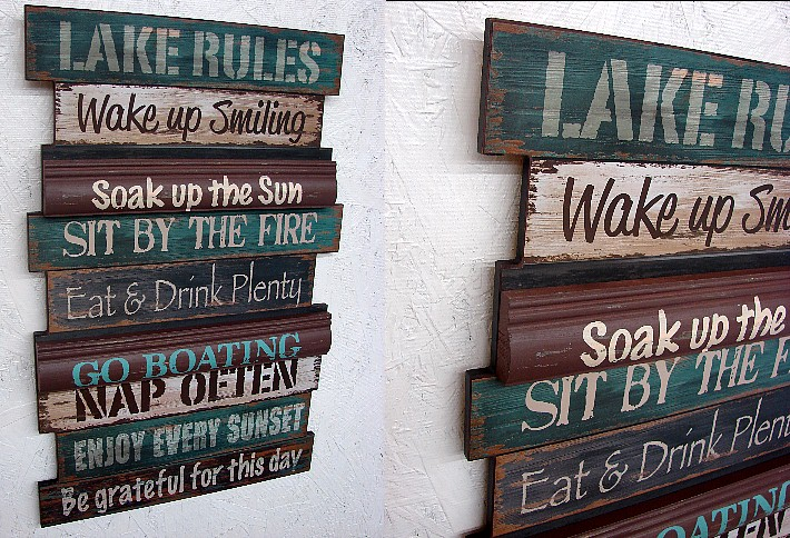 Rustic Large Wood Lake Rules Sign, Moose-R-Us.Com Log Cabin Decor