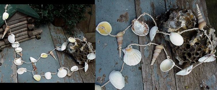Clam Auger Seashell Garland Seashore Nautical Decor 6 Foot Garlands, Moose-R-Us.Com Log Cabin Decor