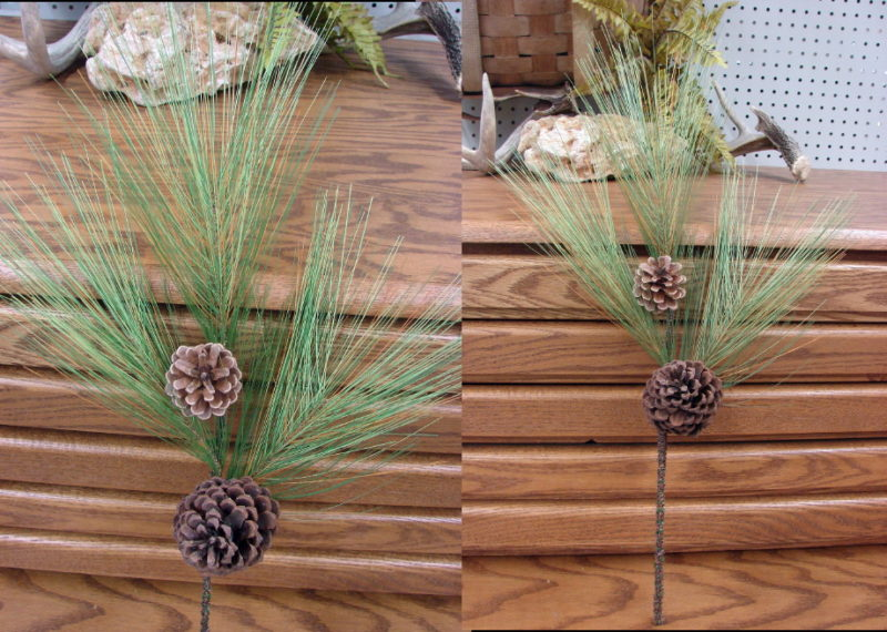 Long Needle Pine Pick with Cones Realistic Branch Pine Cones, Moose-R-Us.Com Log Cabin Decor