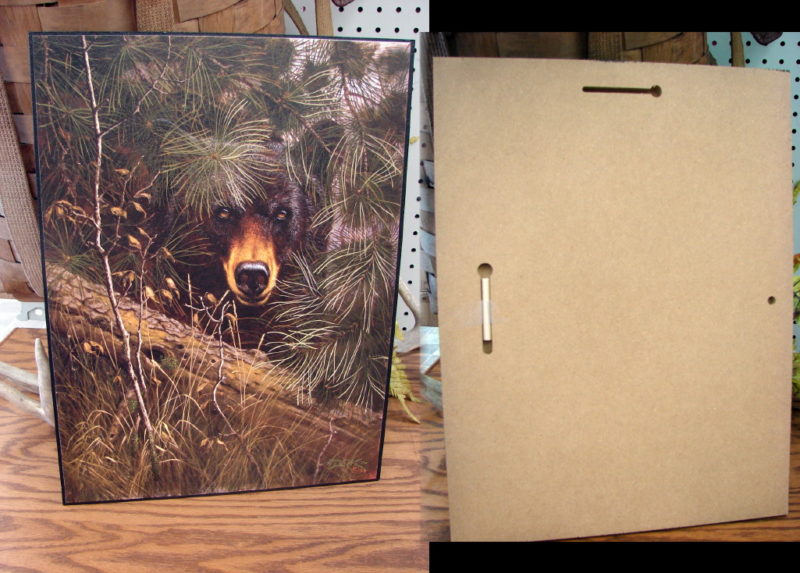 The Watcher Black Bear Pines Derk Hansen Artwork Picture, Moose-R-Us.Com Log Cabin Decor