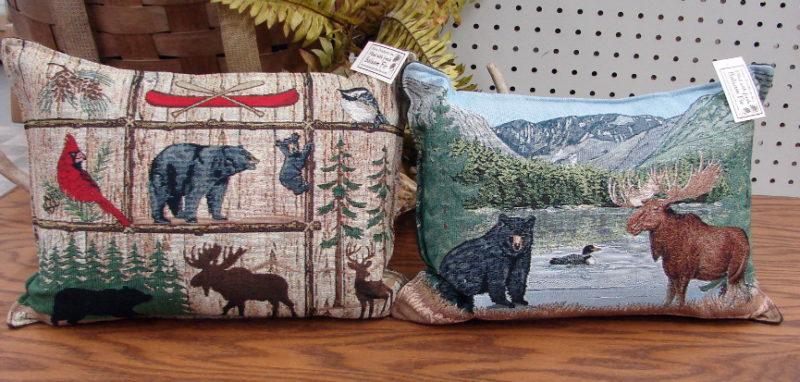 USA Made Fresh Balsam Filled Tapestry Pillow Lodge Moose Bear Mountains, Moose-R-Us.Com Log Cabin Decor