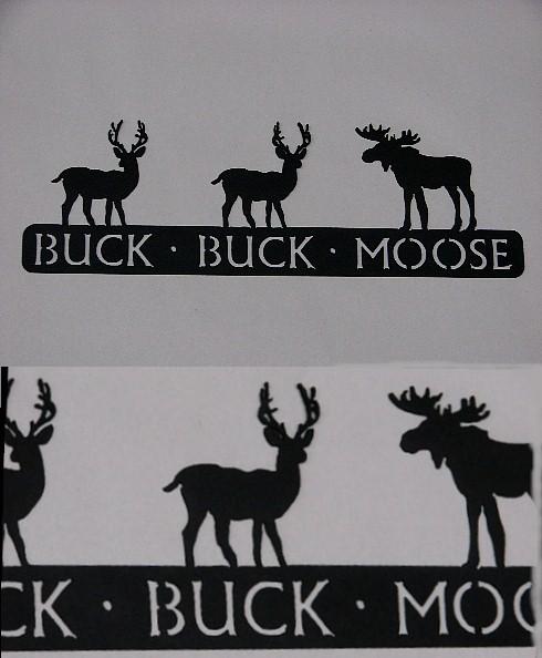Rustic Black Iron Buck Buck Moose Lodge Theme Sign, Moose-R-Us.Com Log Cabin Decor