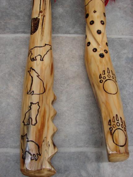 Authentic Native American Indian Cedar Dyed Deer Tail Wood Burned Dance Shaft, Moose-R-Us.Com Log Cabin Decor