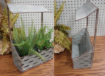 Reclaimed Galvanized Metal Wall Planter Tray with Roof, Moose-R-Us.Com Log Cabin Decor