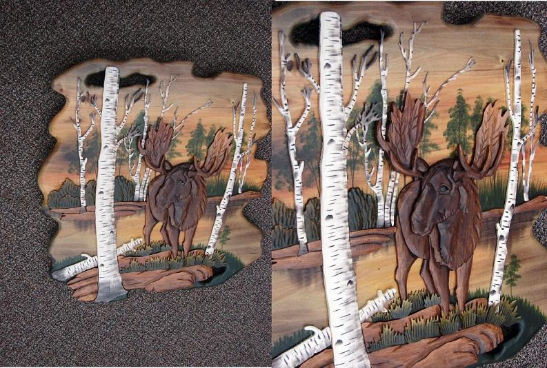 Intarsia Moose in Birch Trees Sunset Wall Decor Picture, Moose-R-Us.Com Log Cabin Decor