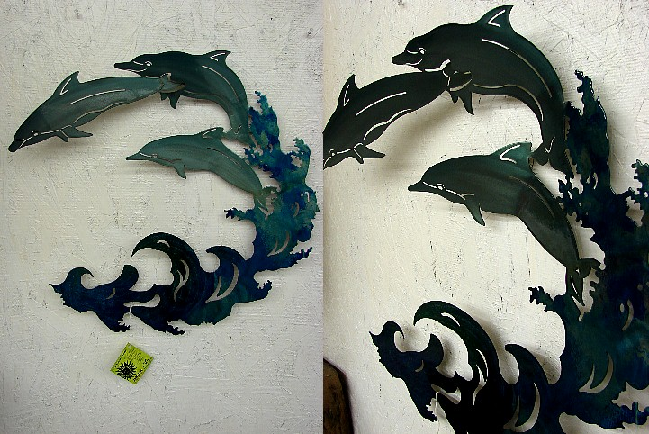 Steel Patio 3-D Refraxions Wall Decor Large Dolphins Waves, Moose-R-Us.Com Log Cabin Decor