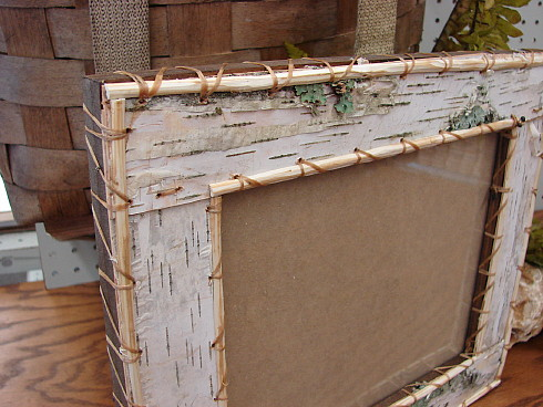 Authentic Native American Birch Bark Crafted Picture Frame, Moose-R-Us.Com Log Cabin Decor