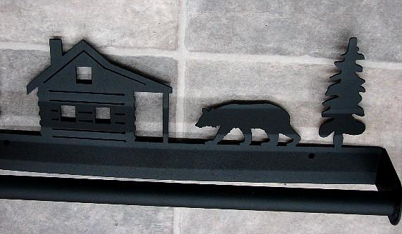 Rustic Black Iron Welded Towel Bar Collection Moose Bear, Moose-R-Us.Com Log Cabin Decor