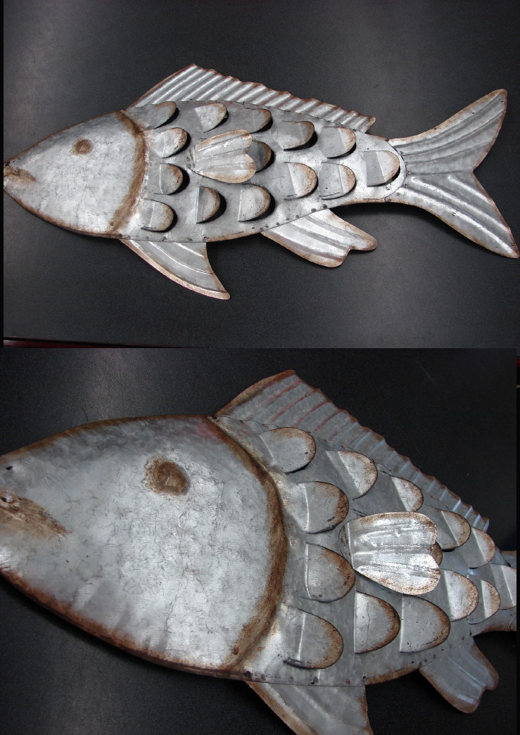 Large Rustic Galvanized Metal Wall Fish