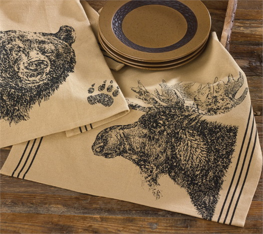 PD Bear or Moose Ink Drawing Dishtowel, Moose-R-Us.Com Log Cabin Decor