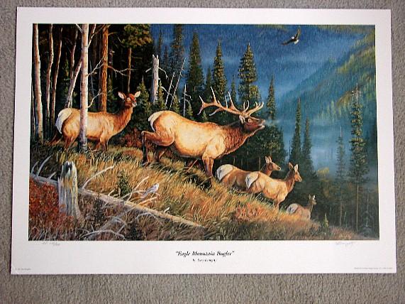 Doughty Eagle Mountain Bugler Elk Print, Moose-R-Us.Com Log Cabin Decor