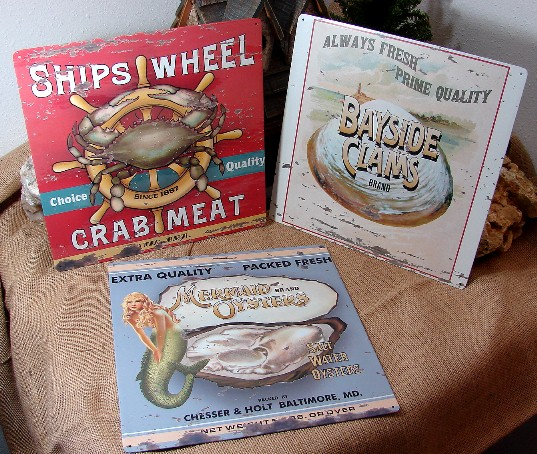 3 Antiqued Tin Seafood Signs Crab Meat Clams Oysters Beach Theme Decor, Moose-R-Us.Com Log Cabin Decor