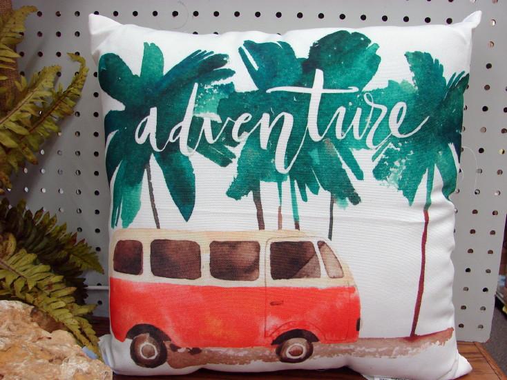 Tropical Colorful Beach Themed Pillow Palm Flamingo Retro, Moose-R-Us.Com Log Cabin Decor