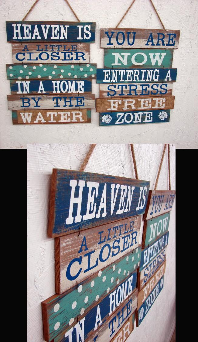 Distressed Antiqued Wood Slats Beach Water Stress Free Zone Sign, Moose-R-Us.Com Log Cabin Decor