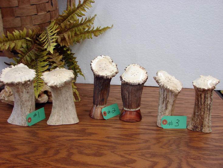 Real Moose Antler Salt and Pepper Shakers Huge Range Set, Moose-R-Us.Com Log Cabin Decor