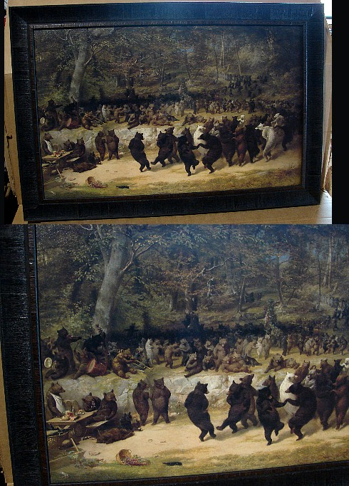 Large The Bear Dance by William Holbrook Framed Picture, Moose-R-Us.Com Log Cabin Decor