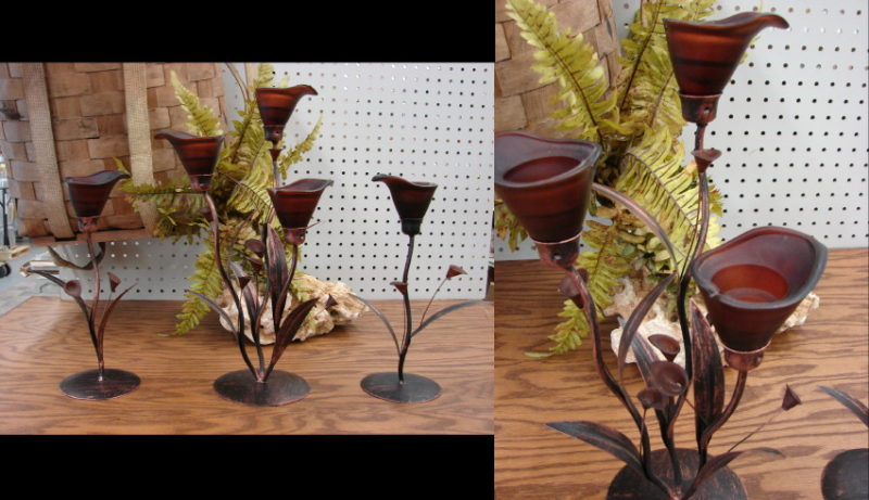 Europa Copper Lily 3 Piece Tea light Candleholder Set, Moose-R-Us.Com Log Cabin Decor