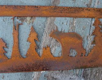 Rustic Iron Rectangular Moose Bear Log Cabin Scene Silhouette Wall Decor, Moose-R-Us.Com Log Cabin Decor