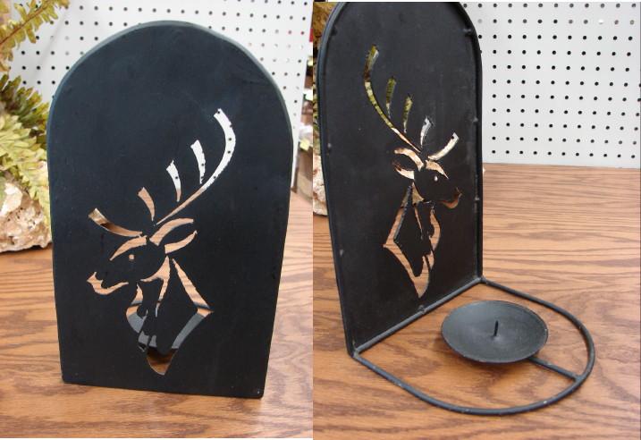 Iron Elk Stag Head Silhouette Pillar Candle Holder, Moose-R-Us.Com Log Cabin Decor