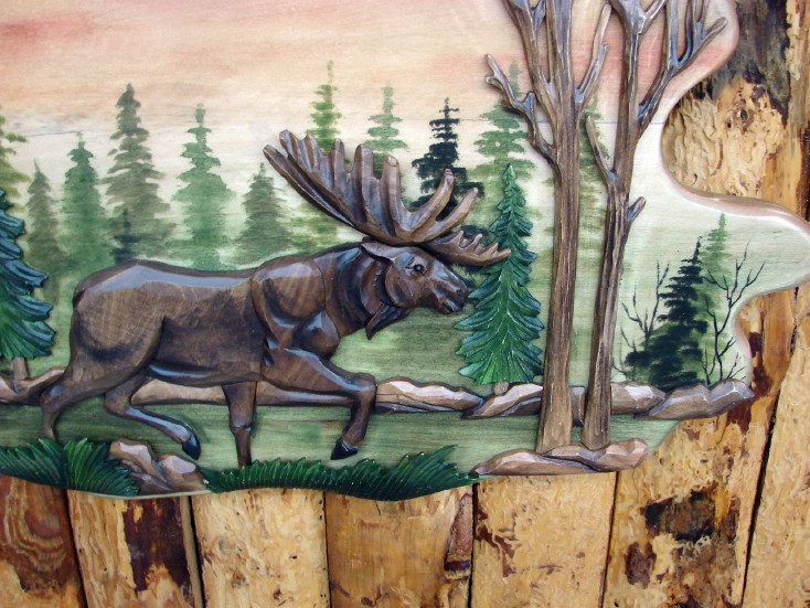 Carved Wood Moose and Bear Intarsia Natural Wood Wall Art Picture, Moose-R-Us.Com Log Cabin Decor
