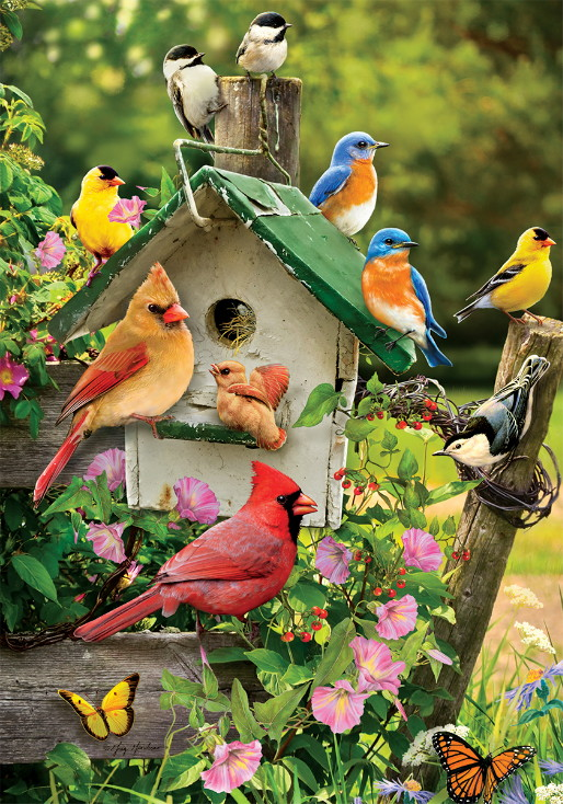 Double Sided Decorative Flag Porch Garden Decor Birdhouse Fence Songbirds, Moose-R-Us.Com Log Cabin Decor