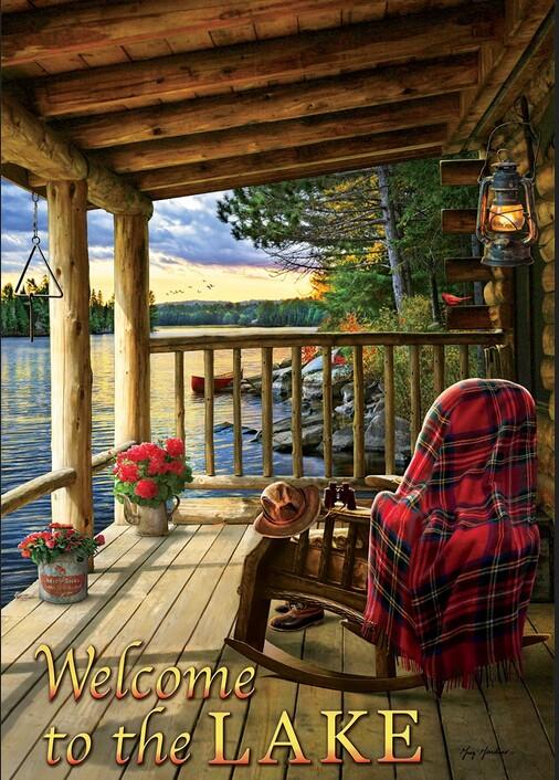 Double Sided Decorative Flag Porch Garden Decor Lake Porch Deck Sunset, Moose-R-Us.Com Log Cabin Decor