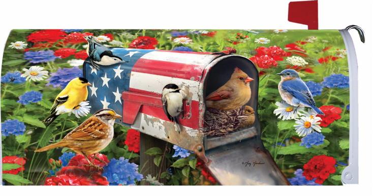 Mailbox Makeover Magnetic Vinyl Artwork Wild Birds Backyard Songbirds, Moose-R-Us.Com Log Cabin Decor