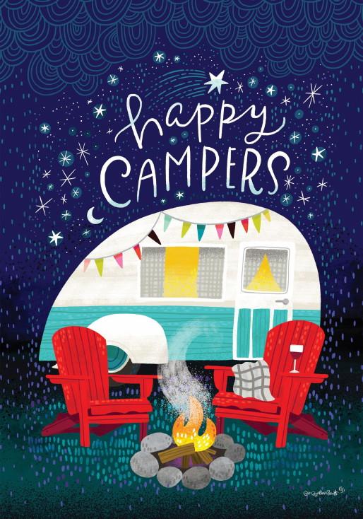 Double Sided Decorative Flag Porch Garden Decor Happy Campers Campfire, Moose-R-Us.Com Log Cabin Decor