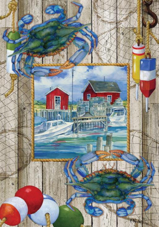 Double Sided Decorative Flag Porch Garden Decor Blue Crab Shack Buoy, Moose-R-Us.Com Log Cabin Decor