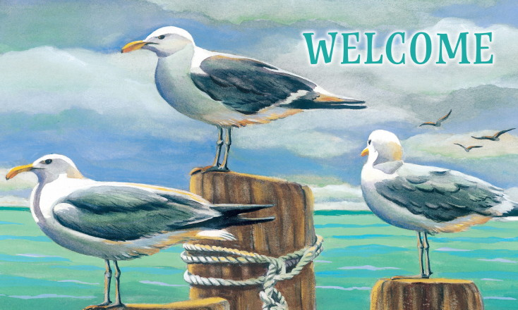 Indoor/Outdoor Rubber Backed Printed Floor Mat Welcome Nautical Beach Seagulls, Moose-R-Us.Com Log Cabin Decor