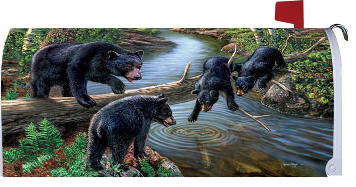 Mailbox Makeover Magnetic Vinyl Artwork Black Bear Family Forest River Meger, Moose-R-Us.Com Log Cabin Decor