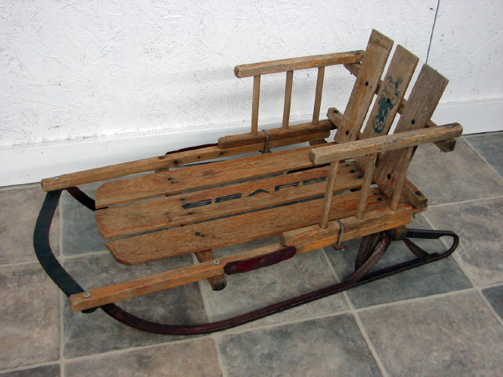 Vintage Sears Baby Child Winter Snow Sled Wooden Iron Runners, Moose-R-Us.Com Log Cabin Decor