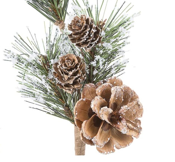 Snow Covered Pinecone Pine Pick Frost Cones, Moose-R-Us.Com Log Cabin Decor