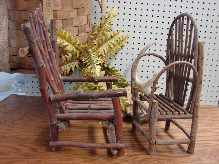 Vintage Bent Twig Adirondack Doll Bear Furniture Bed Chair Bench, Moose-R-Us.Com Log Cabin Decor