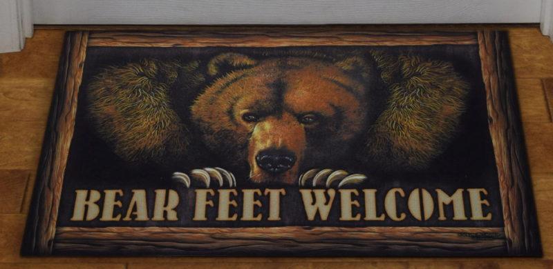 Indoor/Outdoor Grizzly Bear Feet Welcome Printed Floor Mat Rug, Moose-R-Us.Com Log Cabin Decor