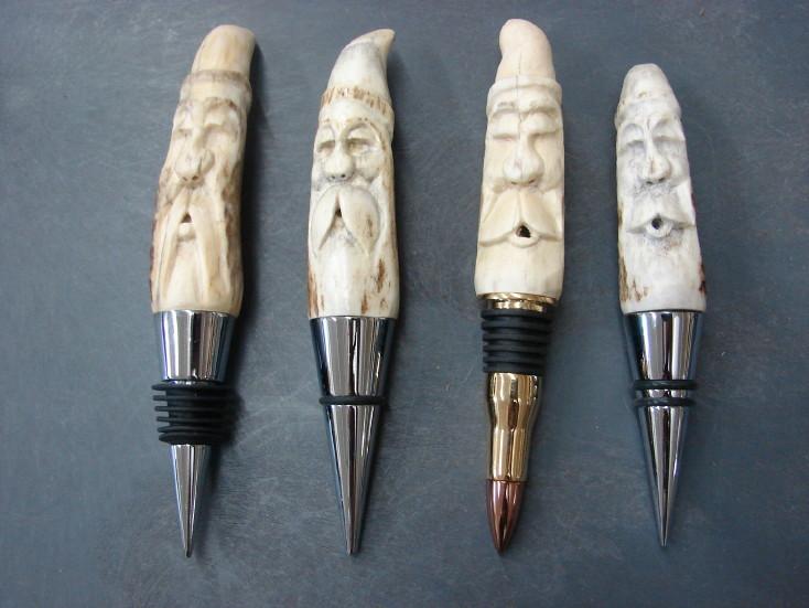 Hand Carved Deer Antler Spirit Wine Bottle Stopper, Moose-R-Us.Com Log Cabin Decor