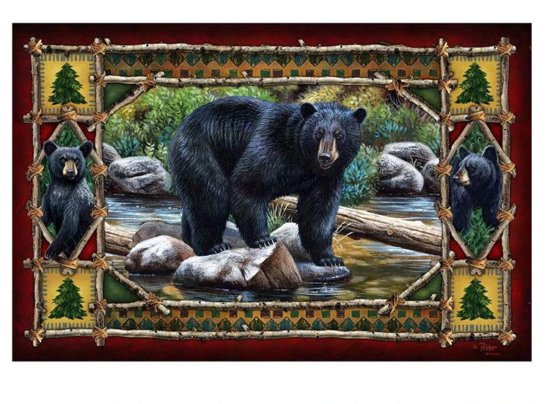 Indoor/Outdoor Rubber Backed Printed Floor Mat Rug Adirondack Black Bear, Moose-R-Us.Com Log Cabin Decor
