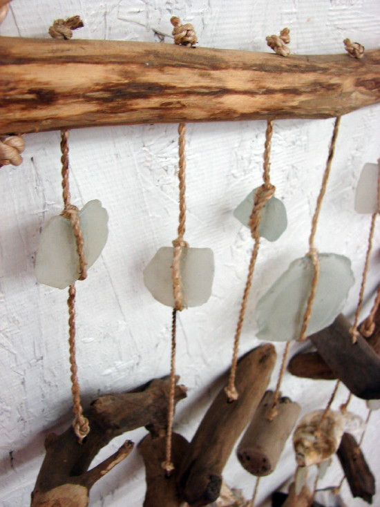 Driftwood Sea Glass Seashell Chime Hanger Shell Beach Decor, Moose-R-Us.Com Log Cabin Decor